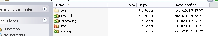 Modified subversion folder