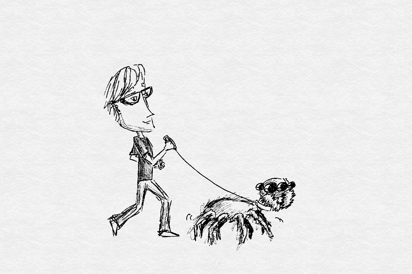 A man geeking out by walking his giant pet spider.